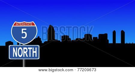 San Diego skyline with interstate 5 sign vector illustration