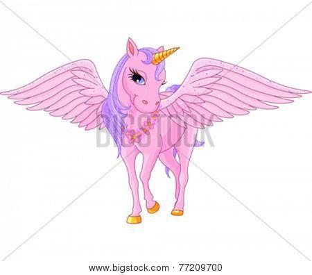 Illustration of beautiful pink Unicorn Pegasus