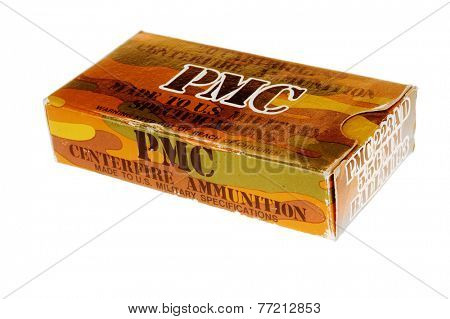 Hayward, CA - November 26, 2014: Box of PMC brand 5.56mm full metal jacketed ammunition