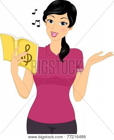 Illustration Featuring a Female Music Tutor Holding a Song Book