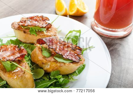 French toast with honey and bacon limonade from red orange and fresh arugula salad poster