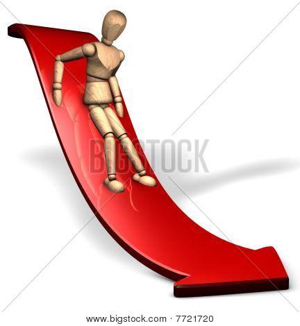 Downwards on the slope