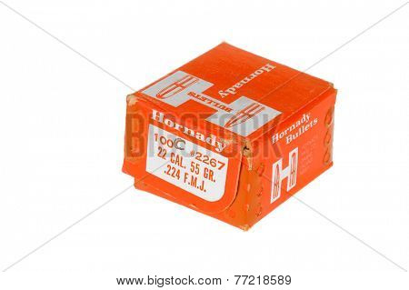 Hayward, CA - November 26, 2014: Box of 55gn, .224 Hornady brand bullets for reloading