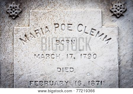Gravestone of Maria Poe Clemm in Baltimore, MD