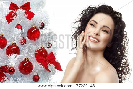 closeup portrait of attractive  caucasian smiling woman brunette isolated on white studio shot lips toothy smile face hair head and shoulders  tooth christmas tree new year