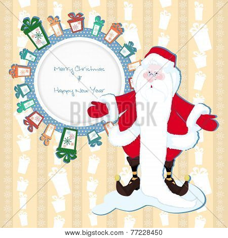 Christmas Background With Presents And Snowflakes With Santa Cla