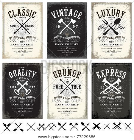 Vector Set of Vintage Posters. Easy to edit.