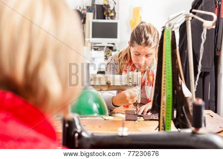 Working At The Sewing Machine