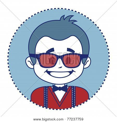 Fashionable and happy showman in sunglasses