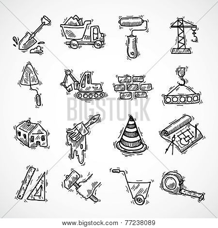 Construction icons set