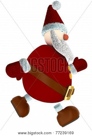 running 3D Santa Claus isolated on white