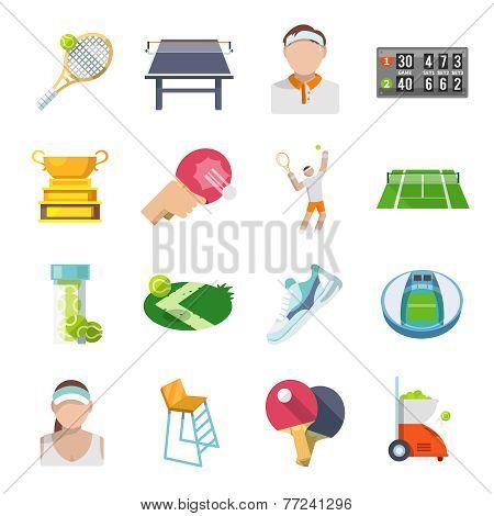 Tennis Icons Flat Set