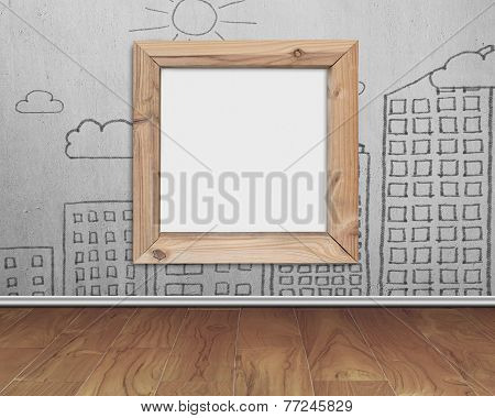 Wooden Frame Blank Whiteboard With Sun Clouds Buildings Doodles