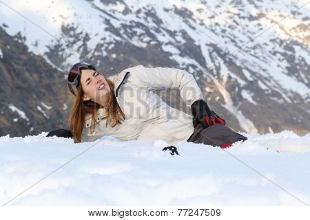 Skier Woman Hurt In The Snow