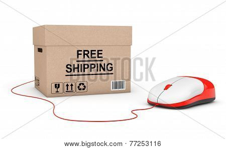 Free Shipping Concept. Free Shipping Box Connected To A Computer Mouse
