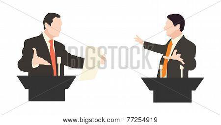 poster of Debate two speakers. Political speeches, debates, rhetoric. Broad and expressive hand gestures.