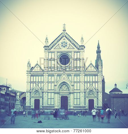 Basilica di Santa Croce in Florence, Italy.  Instagram style filtred image