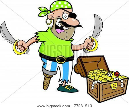 Cartoon pirate with a treasure chest.