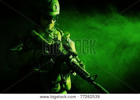 Bearded special forces soldier in the smoke poster