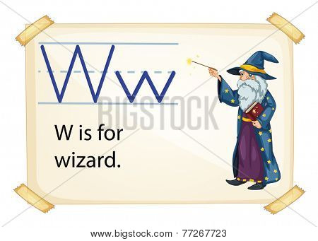 A letter W for wizard on a white background