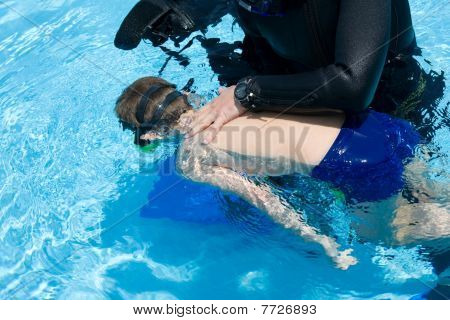 diving lesson in pool and black sea