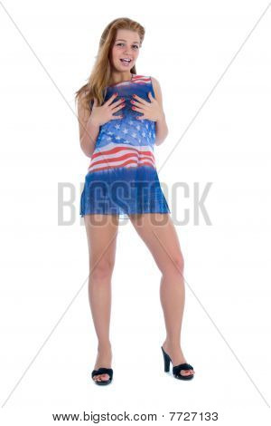 Beautiful girl in dress from the American flag