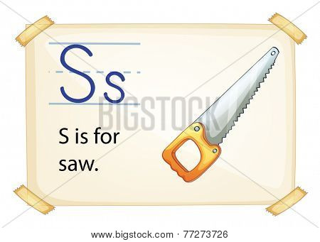 A letter S for saw on a white background