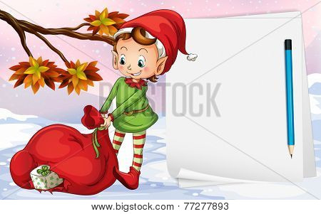 An empty paper beside the elf with a bag of gifts
