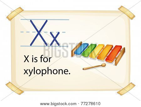 A letter X for xylophone on a white background