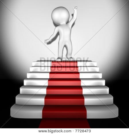 Human on top of red carpet - 3d image