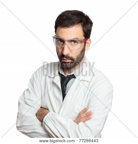 Portrait of young european doctor isolated