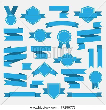 Blue ribbons,medal,award,set isolated on white background.