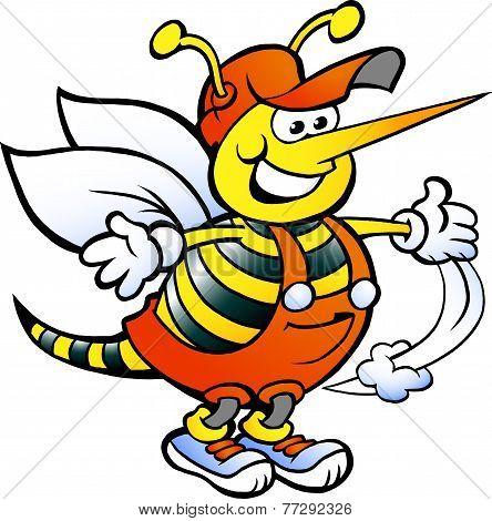 Hand-drawn Vector Illustration Of An Happy Handyman Bee