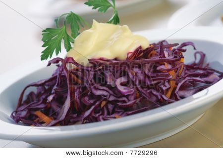 Red Cabbage Salad With Mayonnaise.