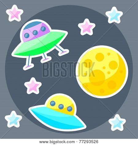 Vector Space Cover With Colorful Planet, Pink And Blue Stars And Ufo
