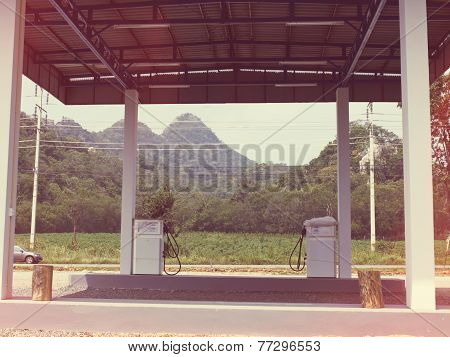 Retro Deserted Gas Station