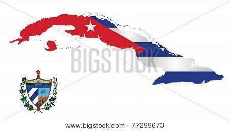 Flag and national emblem of the Republic of Cuba overlaid on outline map isolated on white background poster