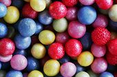 Colorful sweet sugar pearls. Candy, cakes, cookies eatable decoration. Extreme close-up background, pattern. poster