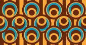 Abstract Wallpaper in Blue Brown and Beige - Circles and Strips poster