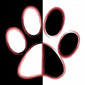 Print black paws on a white background. poster
