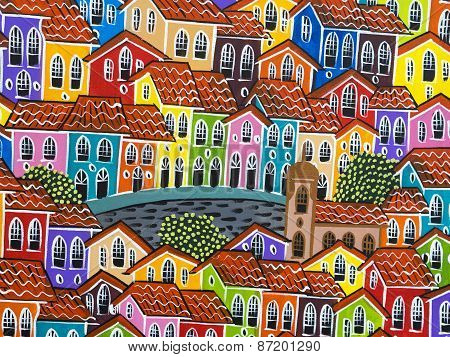 Painting Of Colorful Pelourinho Historic Centre In Salvador, Bahia, Brazil