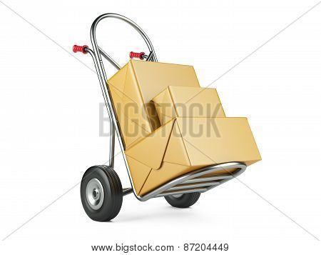 Hand Truck With Carton Packages. Delivery Concept