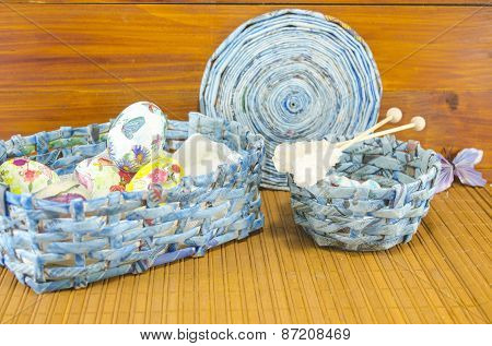 Blue Basket Full Of Handcolored Easter Eggs In Decoupage