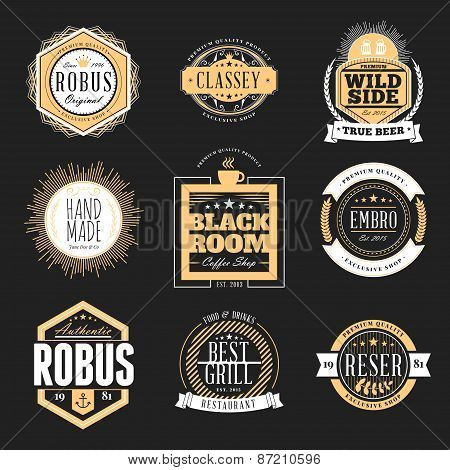 Set Of Retro Vintage Badges And Logotypes. Vector Design Elements, Business Signs, Logos, Identity