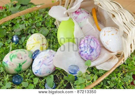 Basket Full Of Handcolored Easter Eggs In Decoupage
