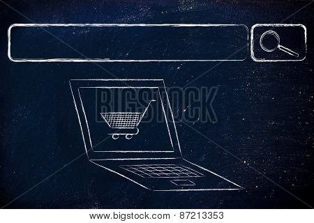 E-business And Buying Online: Search Bar, Computer And Shopping Cart
