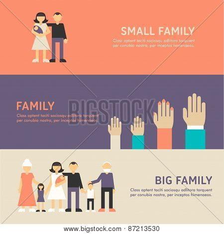 Small Family, Family And Big Family Walk. Flat Design Illustration Concept For Web Banners