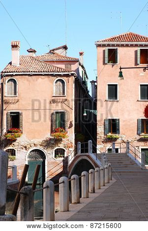View Of Houses On The Channel In Venice