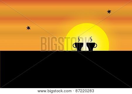 Two Fresh Hot Cups Of Coffee Kept On The Wall Of A Balcony With Orange Sky And Yellow Sun In The Bac