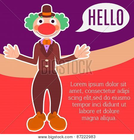 Background with happy greeting clown in costume